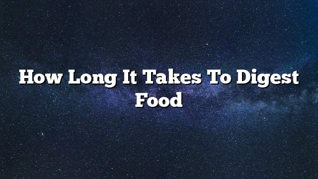 How long it takes to digest food